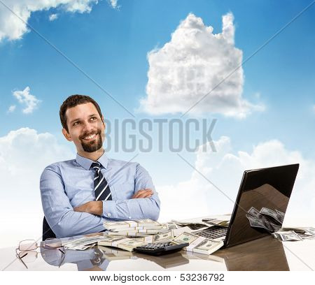 Daydreaming businessperson with arms crossed