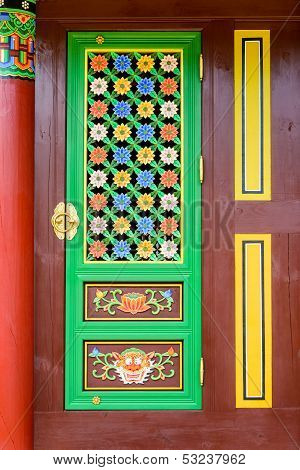 Door panel of Korean temple