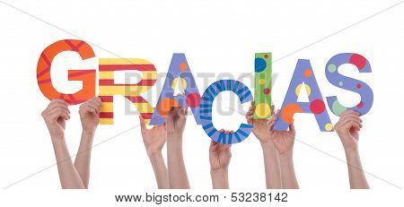 Many Hands Holding Gracias