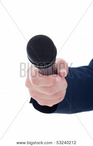 Journalist's Hand Holding A Microphone Isolated On White