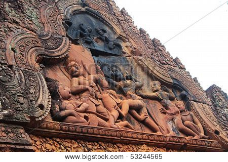 Carved Stone Relief At Banteay Srei, The