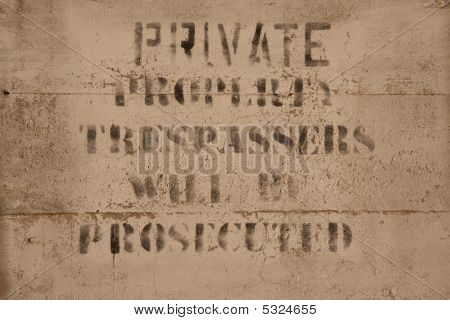 Private Property Sign On Concrete
