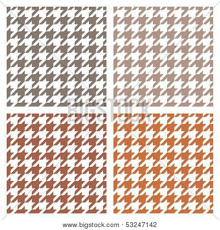 Houndstooth vector seamless pattern set. Traditional Scottish plaid fabric collection