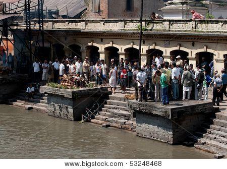 Kathmandu, Nepal - September 21: Cremation Ceremony Along The Holy Bagmati River In Bhasmeshvar Ghat