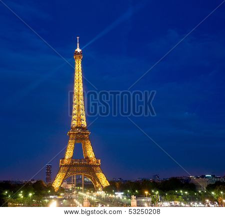 France Paris-Augus t 16: Tower Paris Night on August 16,2012 in France, Paris