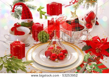 Christmas Table Decoration With Red Candles