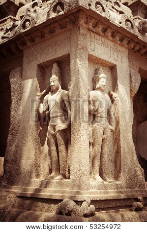 Statue at Panch Rathas MonolithicTemple