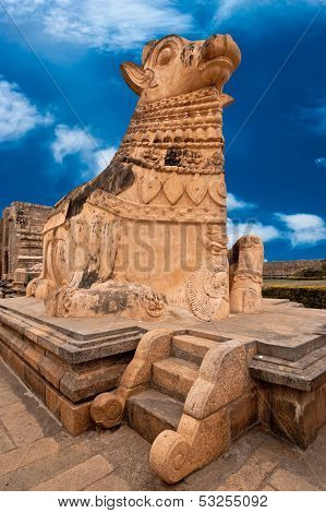Big statue of Nandi Bull in front of Hindu Temple