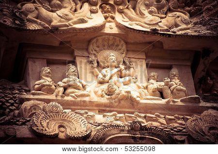 Amazing stone bas relief with Hindu God pantheon