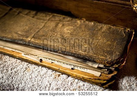 Buddhist prayer book at Tibetan Spituk monastery