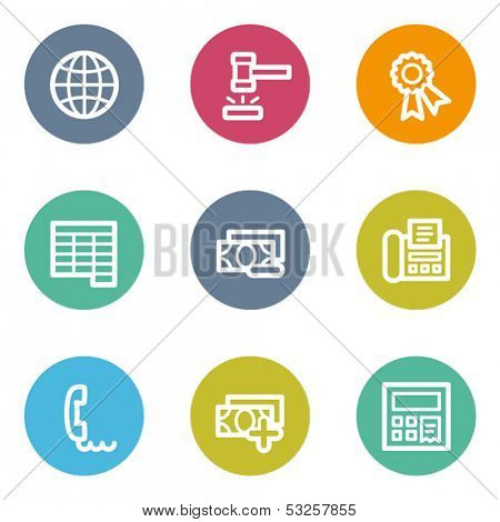 Finance web icons set 2, color circle buttons
