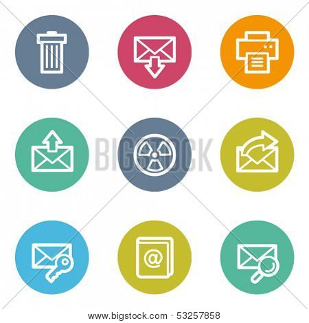 E-mail web icons set 2, color circle buttons