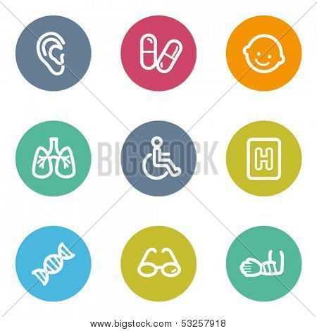 Medicine web icons set 2, color circle buttons