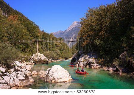 Minirafting On The Soca River, Slovenia