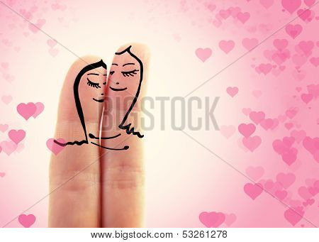 two female fingers like a two women embracing in love over toned pink background with hearts, lesbian concept