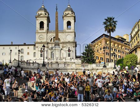 People At The Spanish Steps In Rome