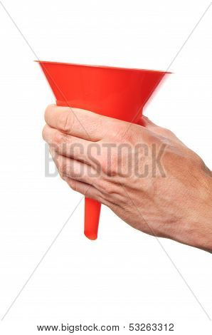 Hand Holding A Funnel