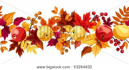 Horizontal seamless background with autumn leaves and apples. Vector illustration.