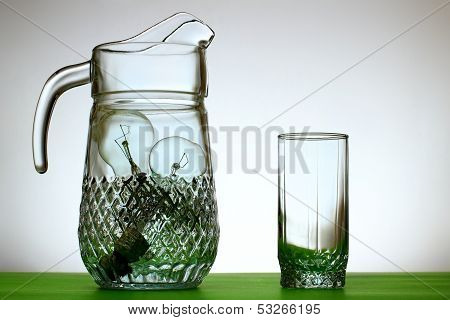 Glass Jug Of Light Bulbs