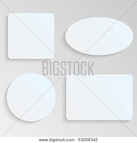 Paper Sheets Of Different Shapes On Gray Background.white Geometric Shape.vector