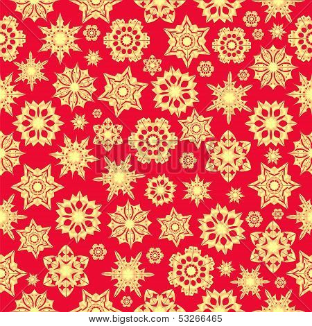Christmas Background.seamless Pattern Of Golden Snowflakes On A Red Background.winter Design.vector