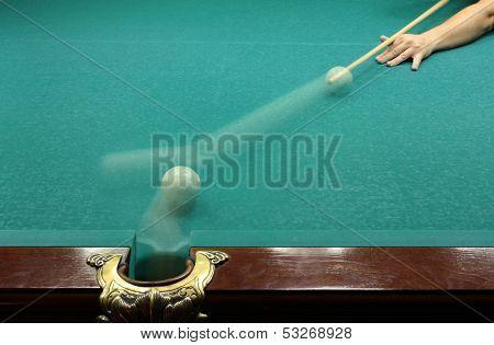Russian billard play, ball and cue
