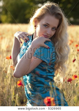 Blonde In Poppy Field