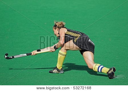 BLOEMFONTEIN, SOUTH AFRICA - FEBRUARY 7: Gaelle Valcke of Belgium in action during a women's field hockey match between South Africa and Belgium, Bloemfontein, South Africa, 7 February 2011