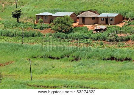 Small rural huts with cultivated lands, KwaZulu-Natal, South Africa
