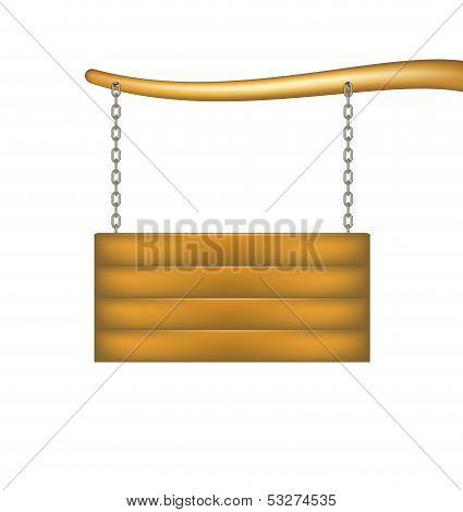Wooden sign board with chain hanging from the bough of a tree