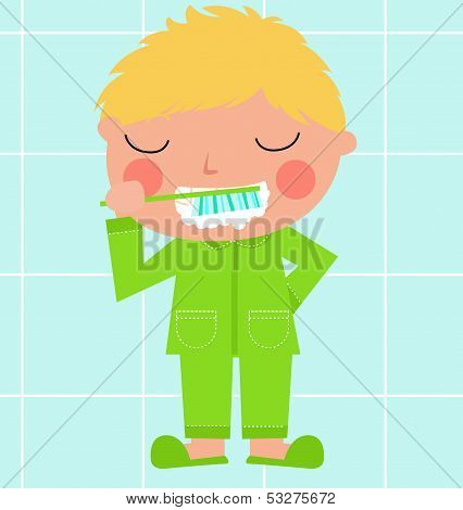A boy brushing his tooth