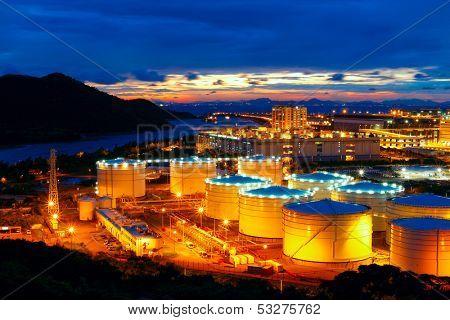 Oil tanks at night , hongkong tung chung
