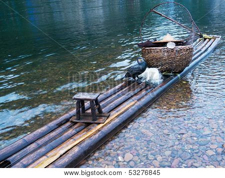 Cormorant On Raft