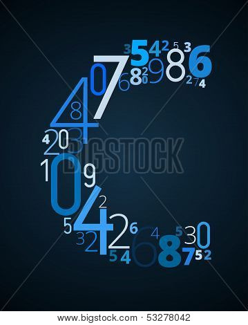 Letter C, vector font from numbers