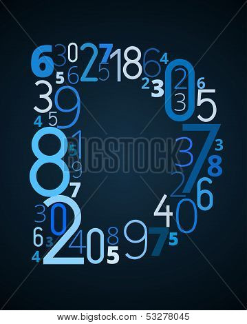 Letter D, vector font from numbers