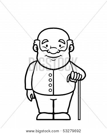 Black and white old man holding a cane