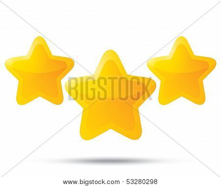 Three golden stars. Star icons on white background