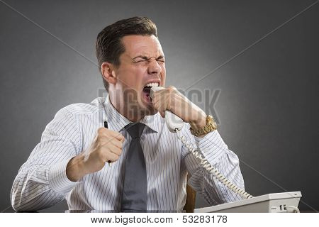 Furious Executive Biting Phone Receiver