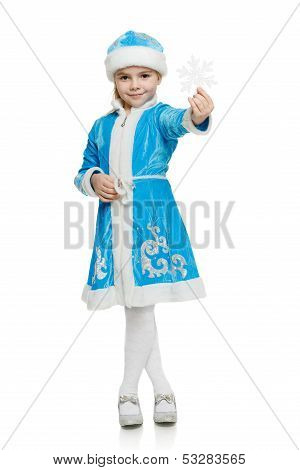 Little girl snow maiden