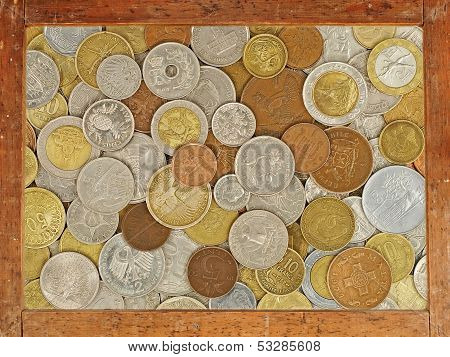 Old Wooden Frame With Numismatic Coins Collection Inside.background.