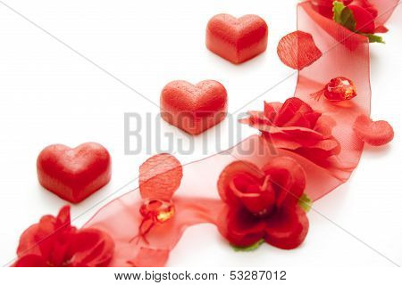 Rose tape with marzipan heart