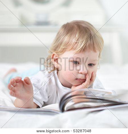 happy boy read book