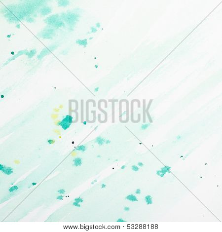Cyan Watercolor Background With Yellwo Splashes