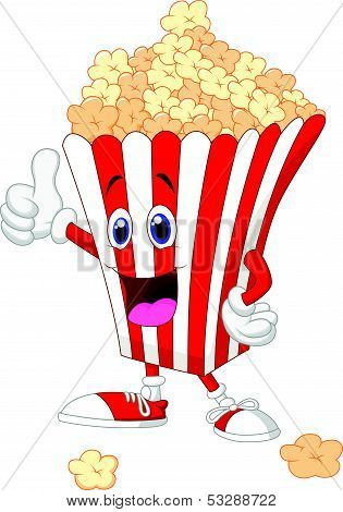 Cute popcorn cartoon with thumb up