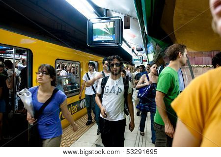 BUENOS AIRES, ARGENTINA - NOV 30: Scene in the Buenos Aires subway, Nov 30, 2010 in Buenos Aires, Argentina. Rapid transit system of lines opened Dec 1, 1913. Passenger traffic for year 329 million.