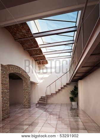 Empty room, apartment or office space with rustic brick and ceiling skylights