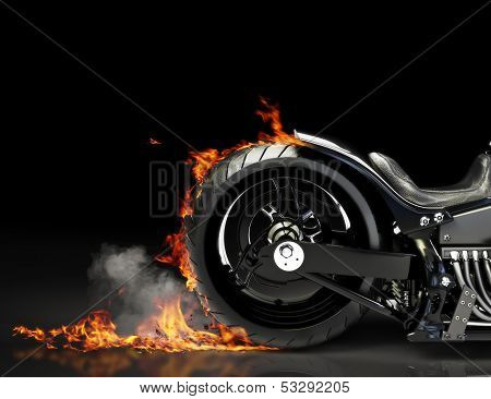 Custom motorcycle burnout on a black background.