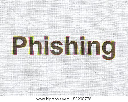 Privacy concept: Phishing on fabric texture background