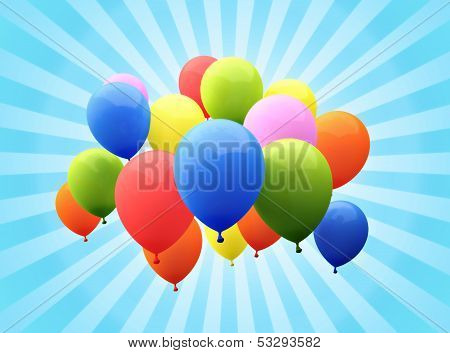 Balloon's with sunburst background.