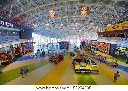 SAMARA, RUSSIA - JULY 7:  Food court in the shopping and entertainment complex Kosmoport July 7, Samara. Kosmoport is a giant complex with the area 125,000 square meters with parking for 4000 cars